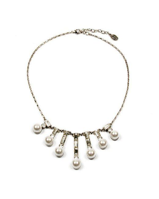 Ben-Amun - Metallic Crystal Pearl Baguette Necklace - Lyst
