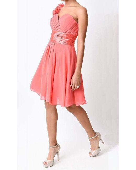 Cinderella Divine Pink 1490 Floral Applique Pleated Cocktail Dress