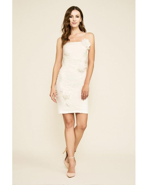 Tadashi Shoji White Benton Tulle Applique Strapless Dress