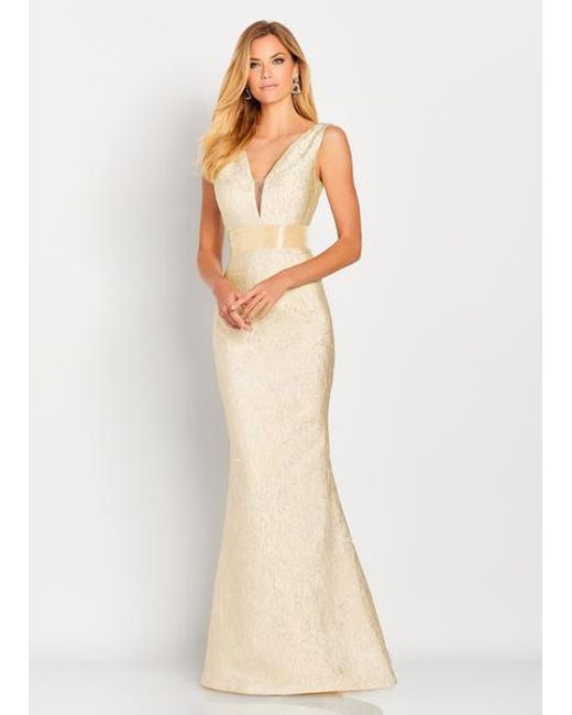 973f83a608 Mon Cheri - Cameron Blake By - 119669 Plunging Metallic Brocade Gown - Lyst