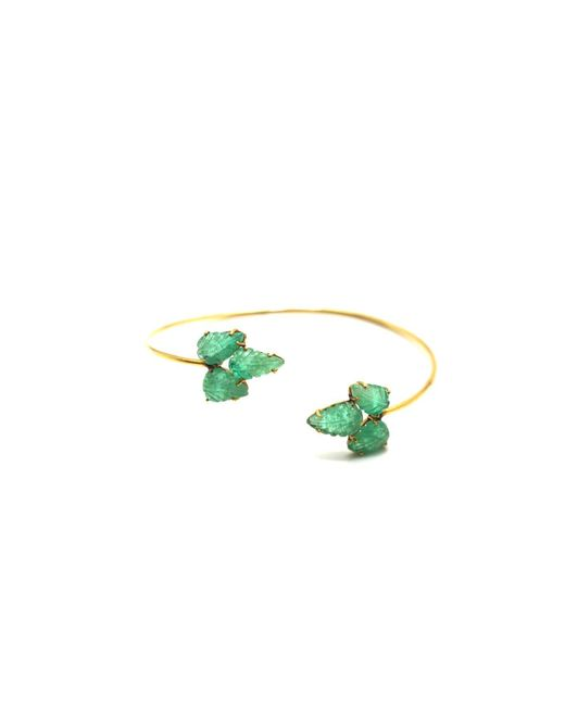 Trésor - Green Emerald Leaf Bangle In K Yellow Gold - Lyst