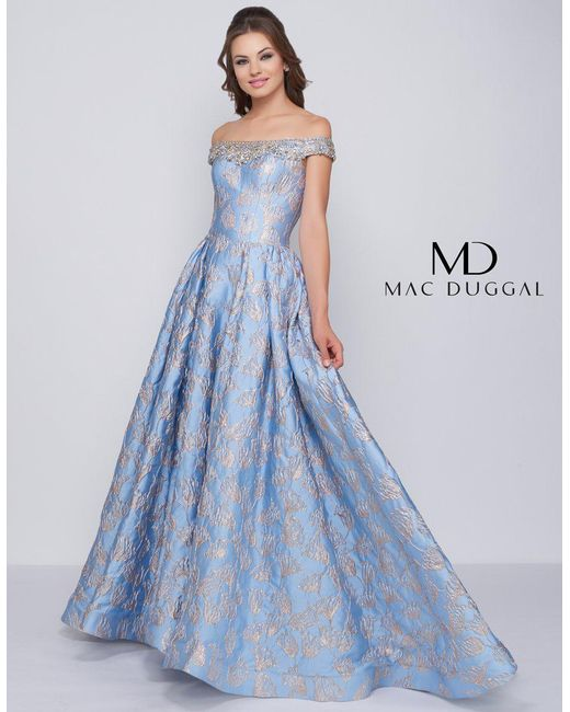 353cfd429480 Mac Duggal - Blue Ballgowns - 66782h Jeweled Off Shoulder Metallic Ballgown  - Lyst ...