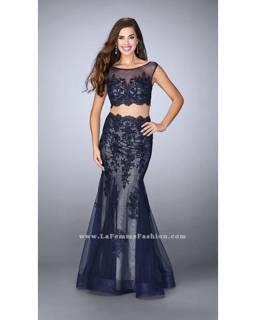 La Femme | Blue Two-piece Intricately Embroidered Illusion Long Evening Gown | Lyst