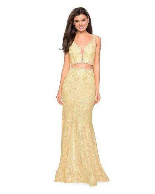 a62959da4b39 Lyst - La Femme 27302 Two Piece Allover Lace Mermaid Gown in Yellow