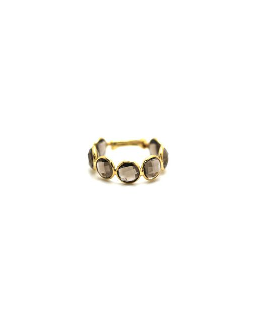 Trésor - Metallic Smoky Quartz Stackable Ring Bands With Adjustable Shank In K Yellow Gold - Lyst
