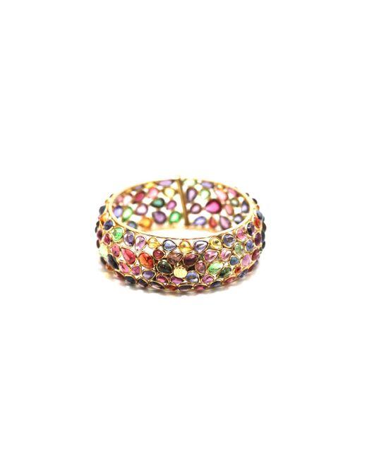 Trésor - Multicolor Stones Bangle In K Yellow Gold - Lyst