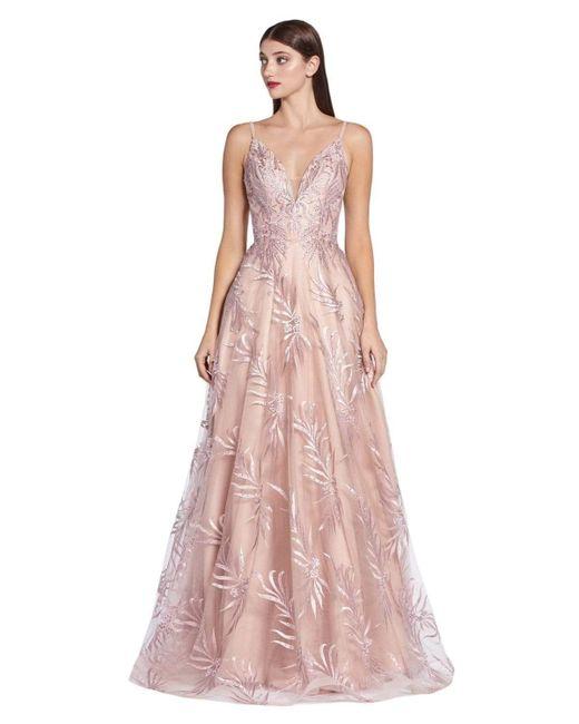 Cinderella Divine Purple Kc891 Floral Applique Deep V-neck A-line Gown
