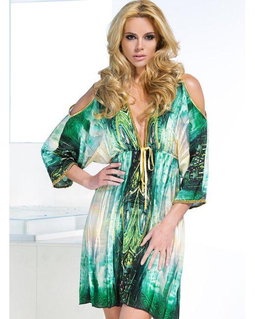 Baccio Couture - Green Monique - Silk Short Dress - Lyst