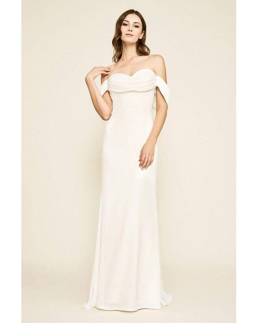 Tadashi Shoji White Amishta Off-the-shoulder Crepe Gown