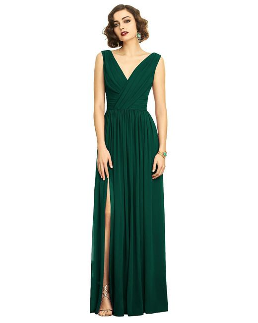 72134df000b Dessy Collection Lux V-neck Chiffon Gown in Green - Save 14% - Lyst