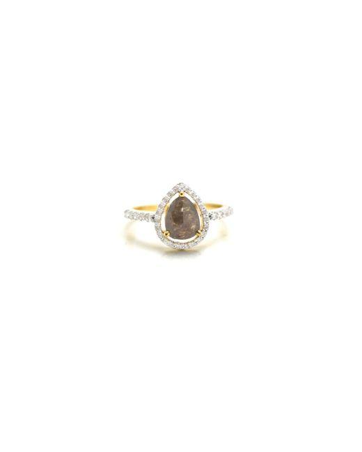 Trésor - White Organic Color Diamond With Round Brilliant Diamond Framed Ring In K Yg - Lyst