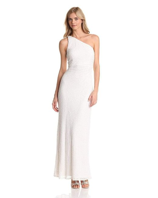 Adrianna Papell White Sequined Asymmetric Dress 91880950