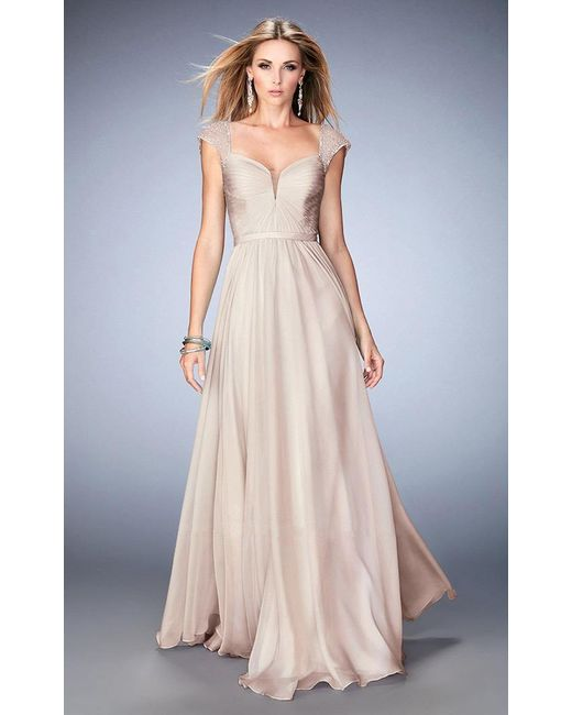 7a11a9addd5 Lyst - La Femme 22876 Shimmering Cap Sleeve A-line Gown in Natural