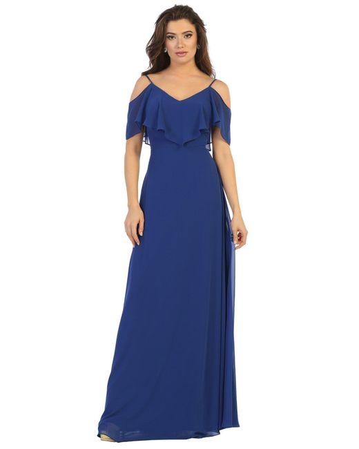 May Queen Blue Mq1686 Draping Off Shoulder Chiffon Long Dress