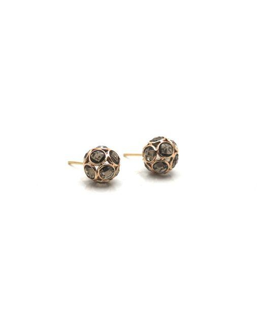 Trésor   Metallic Smoky Quartz Origami Sphere Ball Stud Earrings In K Rose Gold   Lyst