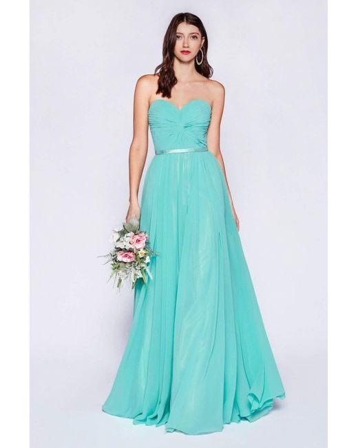 Cinderella Divine Blue 7455 Sweetheart Neckline Chiffon A-line Dress