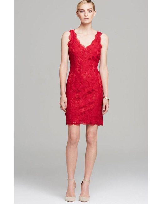 Adrianna Papell Red Floral Lace V-neck Sleeveless Dress 41895500