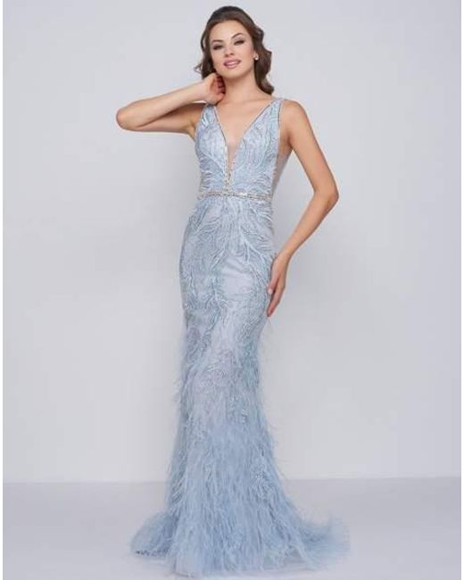 4651726ebab Mac Duggal - Blue Prom - 50537m Beaded Fringed Plunging V-neck Evening Dress  ...