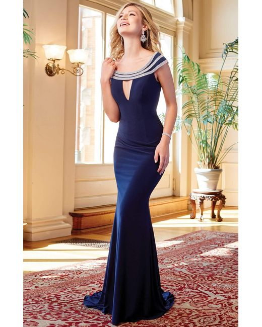 Clarisse Blue 3409 Ornate Cap Sleeves Cutout Long Gown