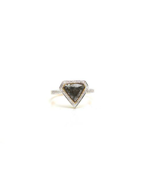 Trésor - White Organic Diamond Slice With Rd Brilliant Diamond Ring In K Yg - Lyst
