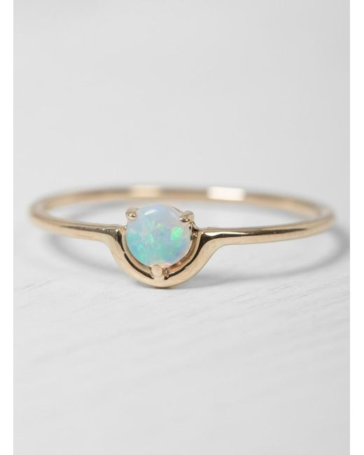 Wwake | Metallic Single Nestled Opal Ring | Lyst