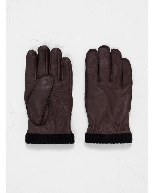 Hestra Deerskin Primaloft Rib Gloves Dark Brown for men