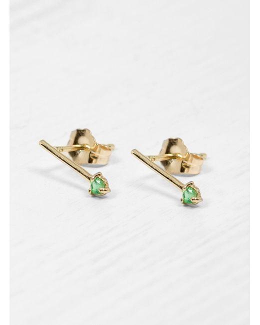 Wwake | Green Emerald One Step Bar Earrings | Lyst