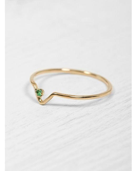 Wwake - Green Emerald Triangle Ring - Lyst
