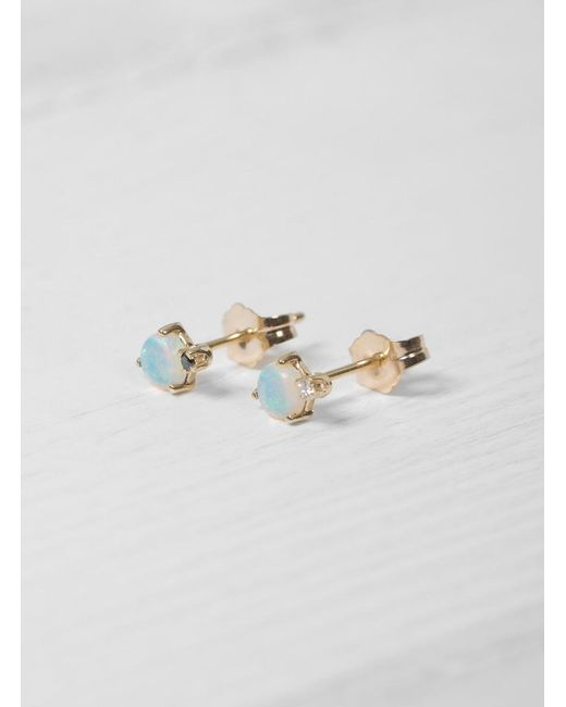 Wwake - Multicolor Mismatched Opal And Diamond Earrings - Lyst