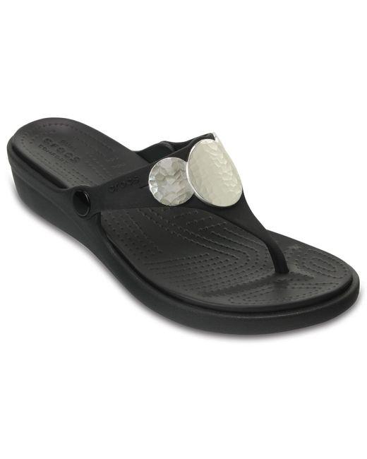 Crocs™ Black Sanrah Embellished Wedge Flip
