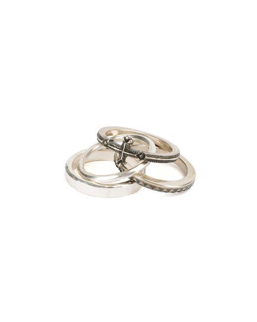 Lyst Werkstattmnchen 4 Ring Combination Cross In Metallic
