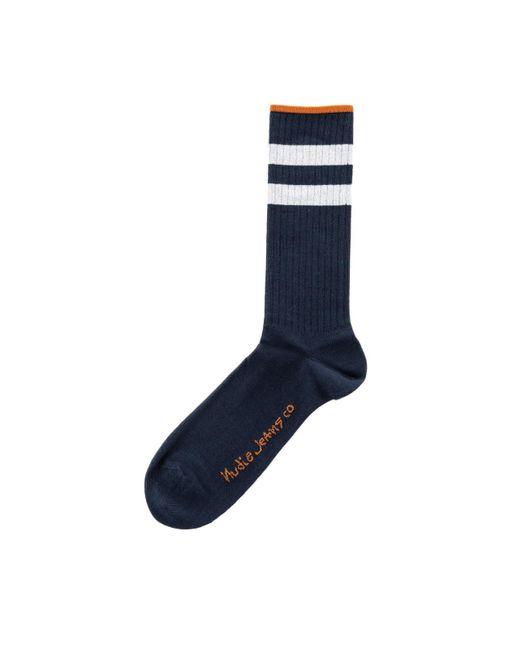 Nudie Jeans Blue Amundsson Sport Socks Night for men