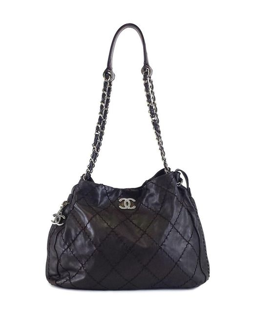 Chanel - Brown Leather Stitched Expandable Zip Around Tote - Lyst