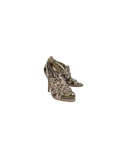 Jimmy Choo - Natural Snakekin Sandal Pumps - Lyst