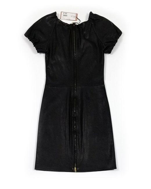 Miu Miu Black Leather Nappa Dress