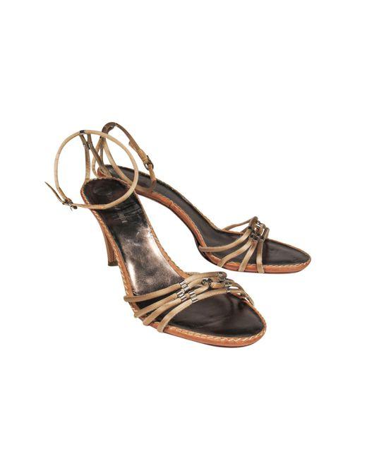 Giorgio Armani Brown Tan Rope Anklestrap Sandals