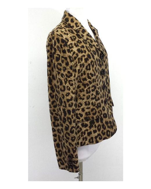 cad08fb43 ... Moschino - Brown Leopard Print Button Down Jacket - Lyst ...