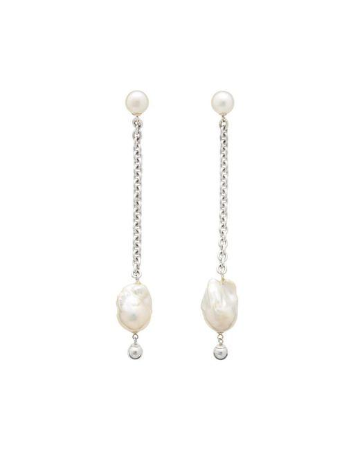 14K Rose Gold Over Sterling Silver White Cz Ear Jacket Edie Stud Earrings