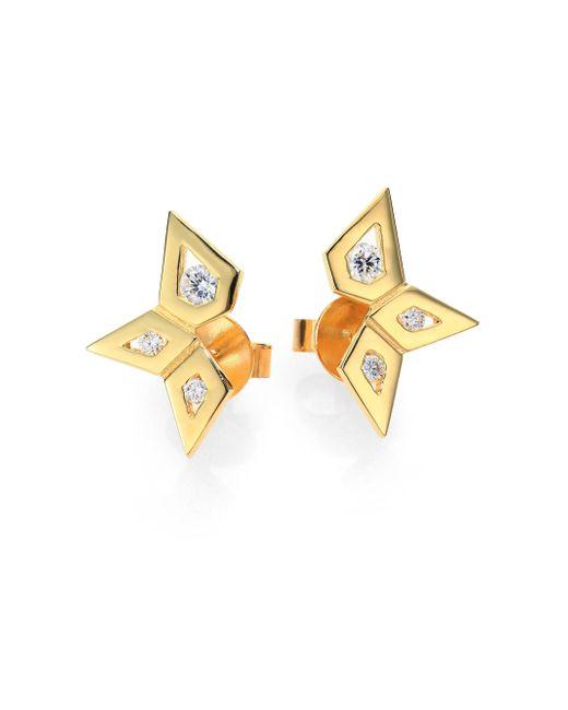 Ron Hami | Metallic Rain Diamond & 18K Yellow Gold Small Spike Ear Cuffs | Lyst