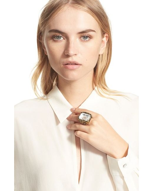 Alexander McQueen | Metallic Swarovski Crystal Ring | Lyst