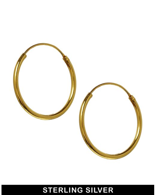 ASOS | Metallic Gold Plated Sterling Silver 20mm Hoop Earrings - Gold | Lyst