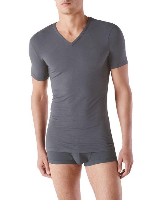 Calvin Klein | Gray Micro Modal V-neck T-shirt for Men | Lyst