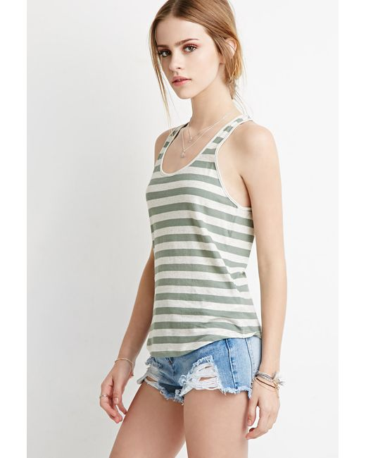 Forever 21 | Green Striped Racerback Tank | Lyst