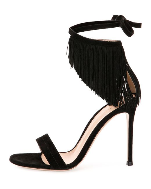 Gianvito Rossi Fringe Suede Ankle Wrap Sandal In Black Lyst