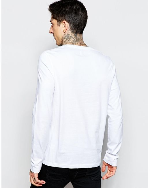 Asos long sleeve t shirt with v neck in white for men for Long white v neck t shirt