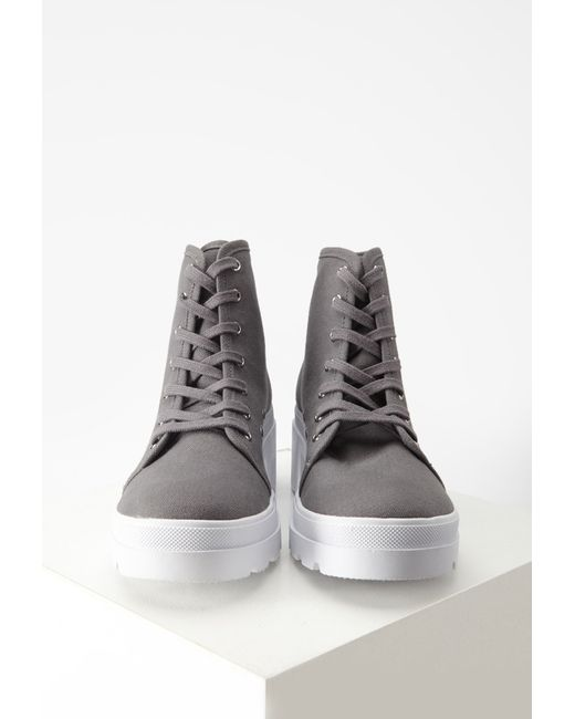 Forever 21   Gray Canvas Lug Platform Boots   Lyst