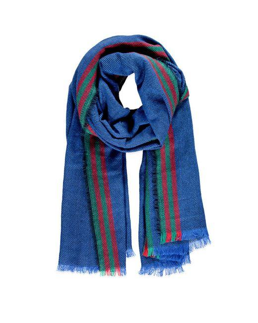 Forever 21   Blue Frayed Stripe-patterned Scarf   Lyst