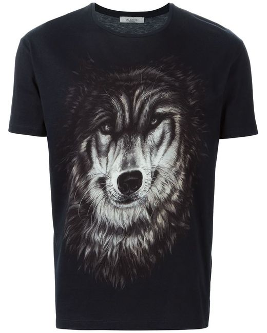 valentino wolf print t shirt in animal for men save 40. Black Bedroom Furniture Sets. Home Design Ideas