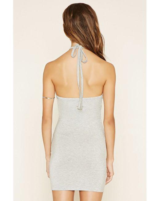 Forever 21 Halter Bodycon Mini Dress in Gray (Heather grey ... - photo #49