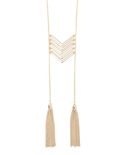 Forever 21 | Metallic Chevron Tasseled Necklace | Lyst